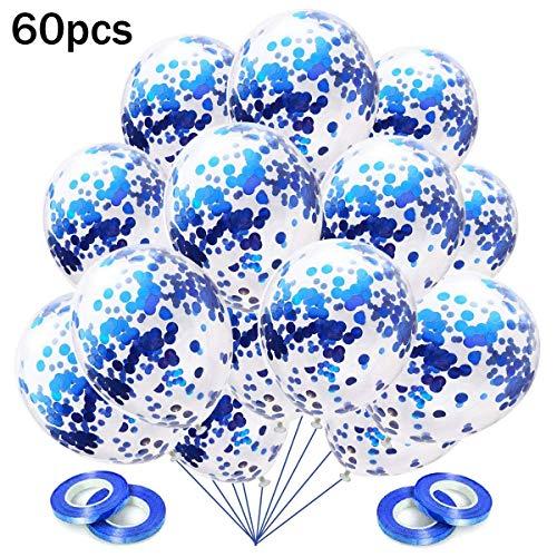 Konfetti Luftballons Blau, 60 Stück Ballons Konfetti Blau Helium für Hochzeit Geburtstag Junge Kinder Babydusche Taufe Konfirmation Garten Party Deko Blau