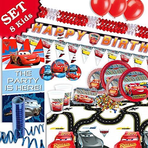 geburtstagsfee Kinderparty-Deko-Set f. Cars-Mottoparty z.Kindergeburtstag, 67-tlg. Dekoration