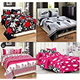 Combo Pack Of Single Size Bedsheet, Combo Set Of 4 Bedsheet And 4 Pillow Covers!Made From Premium Glace Cotton With High Digital Printing By Super Handloom