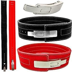 C.P.Sports Profi-Powerlifting-Gürtel Gewichtheben Bodybuilding mit Powerschnalle rot und schwarz