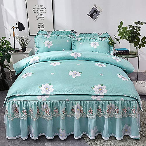 Lace Volle Rock (Zvivi Home Comfort Bettwäsche Rock Sheets Lace Print Twin/XL Volle Größe 4-Piece,Green,TwinXL)