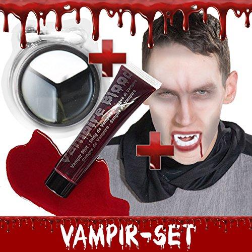 Vampir Makeup Set Halloween: 25ml Kunstblut + Vampir-Gebiss + 3 Vampir-Schminkfarben