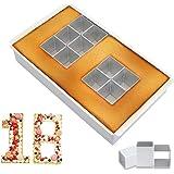 Aluminium Numéro de Moule,Moule à Gâteau en Aluminium Antiadhésif Réglable,Blocs Carrés Amovibles,Moule Chiffres et Lettres C