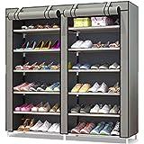 MTL Shoe Cabinet Organizer 2 Doors, Free Standing Shoe Rack (Grey)