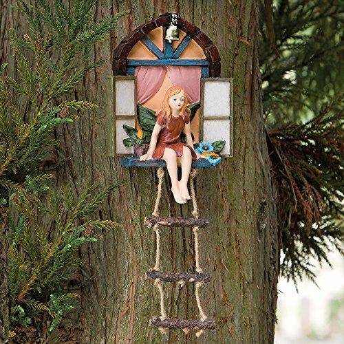Bits und teilig-Fairy Haus mit Leiter Zum Aufhängen Baum Skulptur-Outdoor Baum Statue-Skurril Handbemalt Polyresin Garden Decoration -