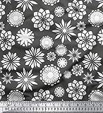 Soimoi Grau schwere Leinwand Stoff Weiß Mandala Stoff drucken Meter 58 Zoll breit