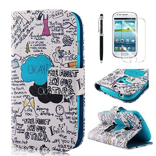 PhoneCase Graffiti Art Text Muster Bottom Series PU Leder Wallet Schutzhülle mit Display Schutzfolie für Samsung Galaxy S3 mini inkl. Stylus Stift schwarz/weiß (Samsung S3 Mini Handy-fällen)
