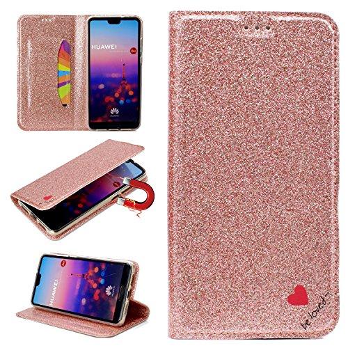 Artfeel Flip Brieftasche Hülle für Huawei P20 Pro,Huawei P20 Pro Bling Glitzer Leder Handyhülle mit Kartenfach,Liebe Herz Muster mit Ständer Magnetisch Schutzhülle-RoséGold - Liebe Kupplung Brieftasche