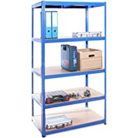 Scaffale per Garage – Scaffalatura – 180cm x 90cm x 60cm – Blu – 5 Ripiani (175Kg a ripiano) – Capacità di carico 875Kg…