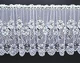 Scheibengardine aus hochwertigem Jacquard mit Blumen in rein weiß HxB 52x145 cm Panneaux mit gebogter Kante - auch als Store erhältlich - Bistrogardine Rosen Bordüre Gardine Typ318