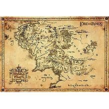 El Señor De Los Anillos - Pergamino Mapa De La Tierra Media Póster Impresión Artística (68 x 47cm)