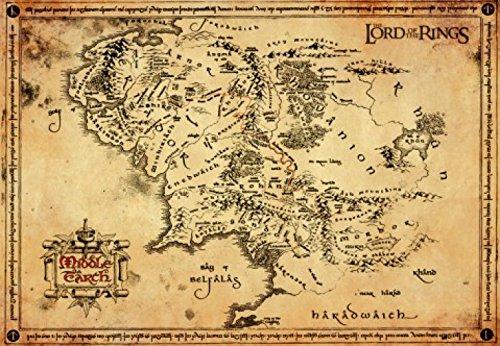 1art1® El Señor De Los Anillos - Pergamino Mapa De La Tierra Media Póster Impresión Artística (68 x 47cm)