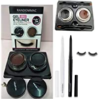 RANDOMMAC COMBO GEL EYELINER 2 IN 1 BLACK AND BROWN WITH BRUSH, AND EYECONIC KAJAL BLACK AND WHITE WITH EYE LASH FALSE (SET OF 4)