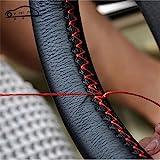 Couvre volant en cuir souple sur le volant de la voiture avec aiguille et fil Accessoires intérieurs rouge