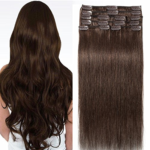 Clip In Extensions Echthaar 100% Remy DOUBLE DRAWN Haarverlängerung 8 Tressen Dick zum Ende Glatt 30cm - 75g - Mittelbraun #04