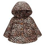 feiXIANG Giacca Bambina Felpe Ragazze Leopardato con Cappuccio Inverno delle Ragazze dei Neonate del Bambino Cappotto Antivento Calda Outfit Natale 12 Mesi - 4 Anni 85-120 cm
