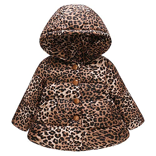 (Modaworld Kleinkind Baby Mädchen Jungen Winter Leopardenmuster warme Jacke mit Kapuze Windproof Coat Mantel (3Y-10Y) Langärmelige Plüsch Lange Dicke Winddichte Baumwollanzug Mode Tops)