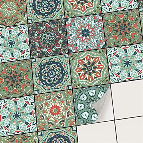 creatisto Fliesenaufkleber Fliesenfolie Mosaikfliesen - Aufkleber Sticker für Wandfliesen I Klebefliesen Deko Folie für Fliesen in Küche u. Bad/Badezimmer (10x10 cm I 9 -Teilig)