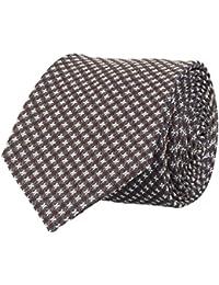 OTTO KERN Schmale Krawatte Seide Seidenkrawatte Clubkrawatte Braun Gemustert 6,5 cm