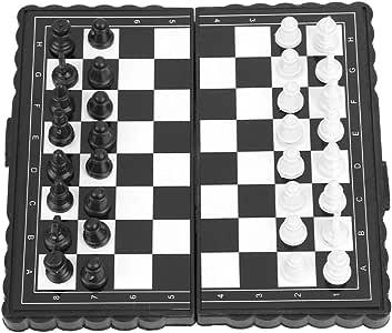 Alomejor Scacchiera in Plastica Portatile con Scacchiera in Bianco e Nero