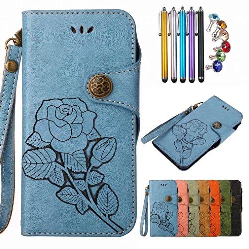 LEMORRY LG Q6 Hülle Tasche Ledertasche Beutel Haut Slim Bumper Schutz Magnetisch mit Kartenschlitz Weich innere TPU Silikon Flip Cover Schale Handyhülle für LG Q6 / M700, Retro Roses (Blau) - Retro-gummi-schale
