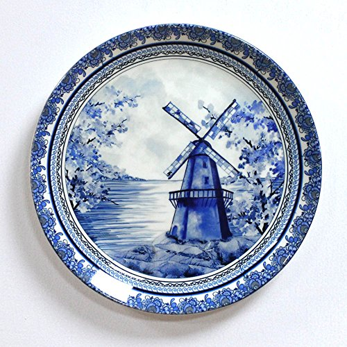 Kolorobia Delftware Dutch Blue Pottery Inspired Home Decor Wall Plate 10 Inches