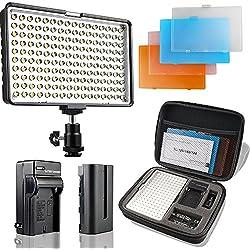 SAMTIAN Torche Vidéo LED Vidéo Lampe 160 LED Appareil Photo Lumière pour Canon, Nikon, Pentax, Olympus et Les Autres Numériques SLR Appareils Photo/caméscopes, 950LM, 85 CRI+