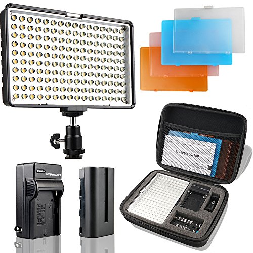 SAMTIAN Video Licht LED 160PCS Videoleuchte 3200/5500k Videobeleuchtung für Canon Nikon Pentax Olympus Panasonic Samsung DSLR-Kameras JVC DV Camcorder NP-F970 / F770 / F570 / F550 Kameralicht Panel