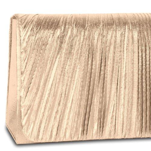 CASPAR Damen elegante Abendtasche / Clutch mit edel gerafftem Obermaterial und Zusatzkette - viele Farben - TA318 camel