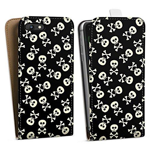 Apple iPhone X Silikon Hülle Case Schutzhülle Totenkopf Skull Schwarz-Weiß Downflip Tasche weiß