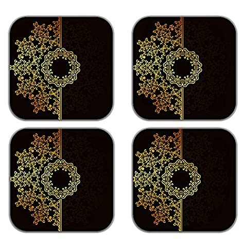 MeSleep Brown Wooden Decorative Abstract Art Tea Cups Drink Coster Set-4