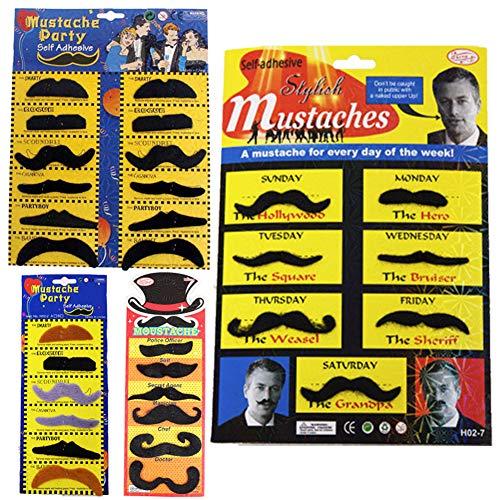 Pveath 8Realistische Set Fake Schnurrbart, Mexikanische Bart für Party Halloween Cosplay Supplies, Selbstklebend (Für Halloween Fake-bärte)