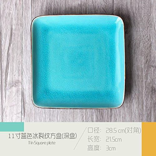 Fashion Square Keramikplatte Pasta Bowl Western Restaurant Klette Großes Quadrat Hotel Restaurant Cafe Geschirr Set Tisch Blau 28,5x21,5x3 cm Square-quiche