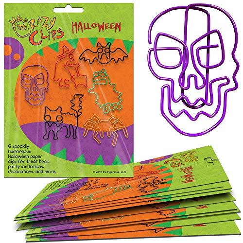 Halloween-Klammern für Klassenzimmer, Zuhause, Büro - Spaß Schulbedarf. Super niedliches Bürozubehör. 6 Jumbo-Klammern pro Packung Assorted: Purple, Red, Black, Green, Orange