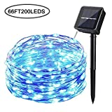 Tempo Solar Powered String Lights,66ft 200LED Copper Wire Lights with 8 Modes, Waterproof Starry String Lights, Indoor/Outdoor Solar Decoration Lights for Gardens, Patios, Homes, Parties(Blue)