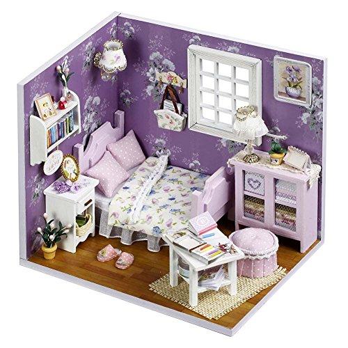 Pueri DIY Dollhouse Handwerk Mini Haus Kit DIY Hütten Mit Abdeckung und Licht (F)