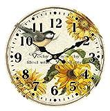 zweibindiger Nadelwald Vintage Holz Runde Wanduhr Vogel Design mit Blumen (diameter12,