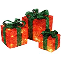 WeRChristmas Gift Box Silhouette with 35 Warm White LED Lights and Tinsel - Red, Set of 3