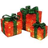 WeRChristmas, illuminazione decorativa a forma di confezione regalo, con 35luci a LED bianco caldo Red