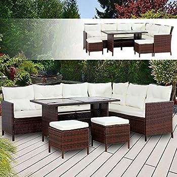 BOSTON Poly Rattan Gartenmöbel Braun Gartenset Lounge Sitzgruppe ...