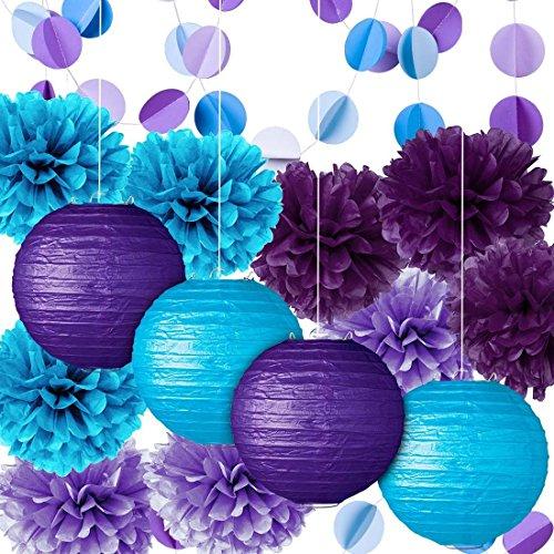Party Dekoration Kit lila blau Seidenpapier Pom Poms Blumen Papers Laternen Kreis Girlande Geburtstag Hochzeit Taufe Frozen Theme Party