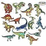 DoBestLJZ Patches Zum aufbügeln,14 Stück Dinosaurier Patch Sticker Applikationen Zum Nähen Oder Aufbügeln, Niedlich DIY Kleidung Patches Aufkleber für T-Shirt Jeans Kleidung Taschen
