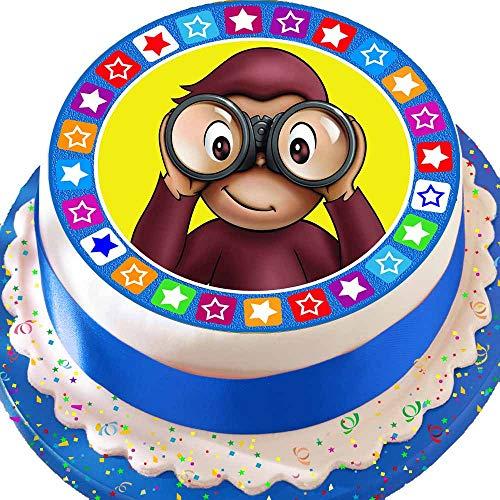 vorgeschnittenen Essbarer Zuckerguss großen Kuchen Topper-19,1cm rund Curious George mit Star Bordüre