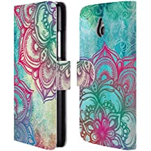 Official Micklyn Le Feuvre Round And Round The Rainbow Mandala 3 Leather Book Wallet Case Cover For HTC One mini