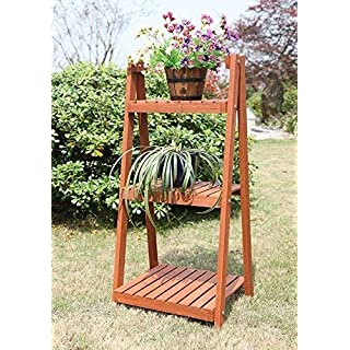 garden mile Rustic 3 Tier Natural Hardwood Indoor/Outdoor Plant Theatre Folding Portable Herb & Plant Stand Greenhouse Wooden Shelving Units Garden Decorations Ideal Gardeners Gift