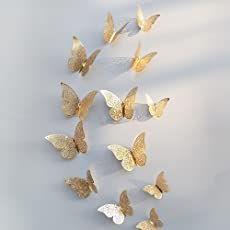Xtore 12pcs 3D Metallic Finish Home Decor Butterfly Comes with Sticking Pad(Shimmer Golden)(Set of 12)