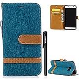 Galaxy S7 Hülle,BtDuck Denim Leder Tasche Dünn Stand Flip Brieftasche Damen Weich Silikon Back Cover Hülle mit Magnetver