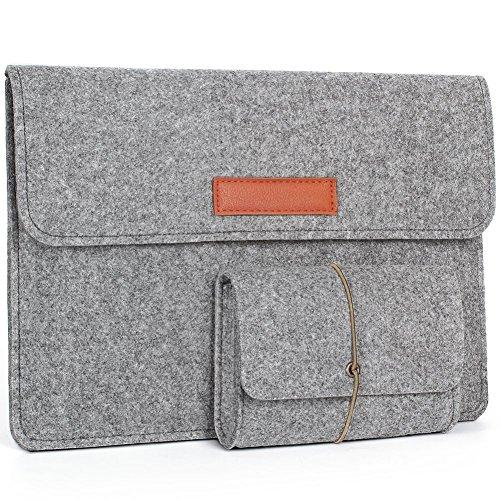 Young & Ming 13,3 Zoll MacBook Air/Pro Retina/12,9 Zoll iPad Pro Laptop-Tasche Filz Sleeve Hülle Ultrabook Hellgrau