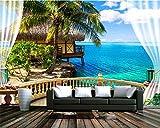 Mznm 3D Stereoscopic Mode Tapete Strand Terrasse Meerblick Blauer Himmel und weiße Wolken Hintergrund Malerei 3D Wallpaper