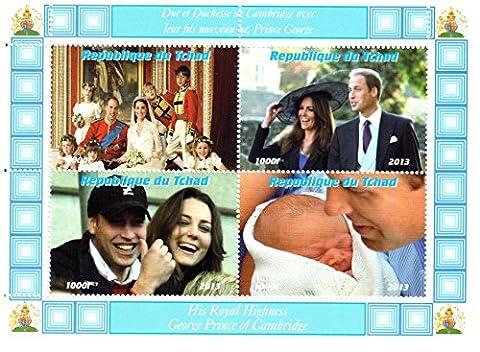 baby timbres royaux pour la philatélie - The Royal bébé Prince George, Kate Middleton, Prince William, le prince Charles et la princesse Diana timbres commémoratifs miniatures - 4 timbres neufs sur un timbre feuillet déséquilibré - neuf